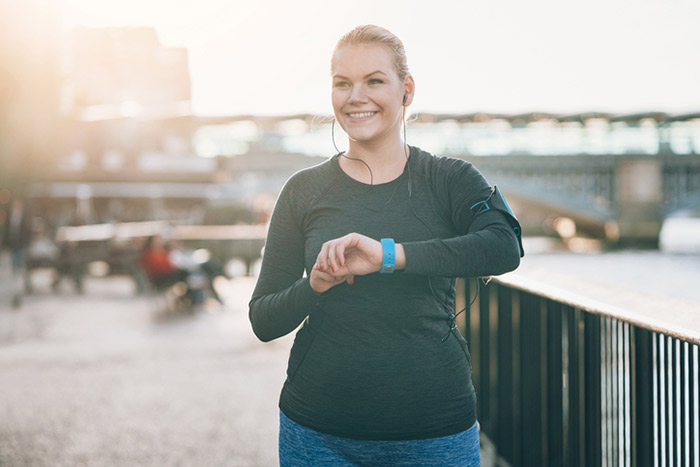 Woman happily doing exercise